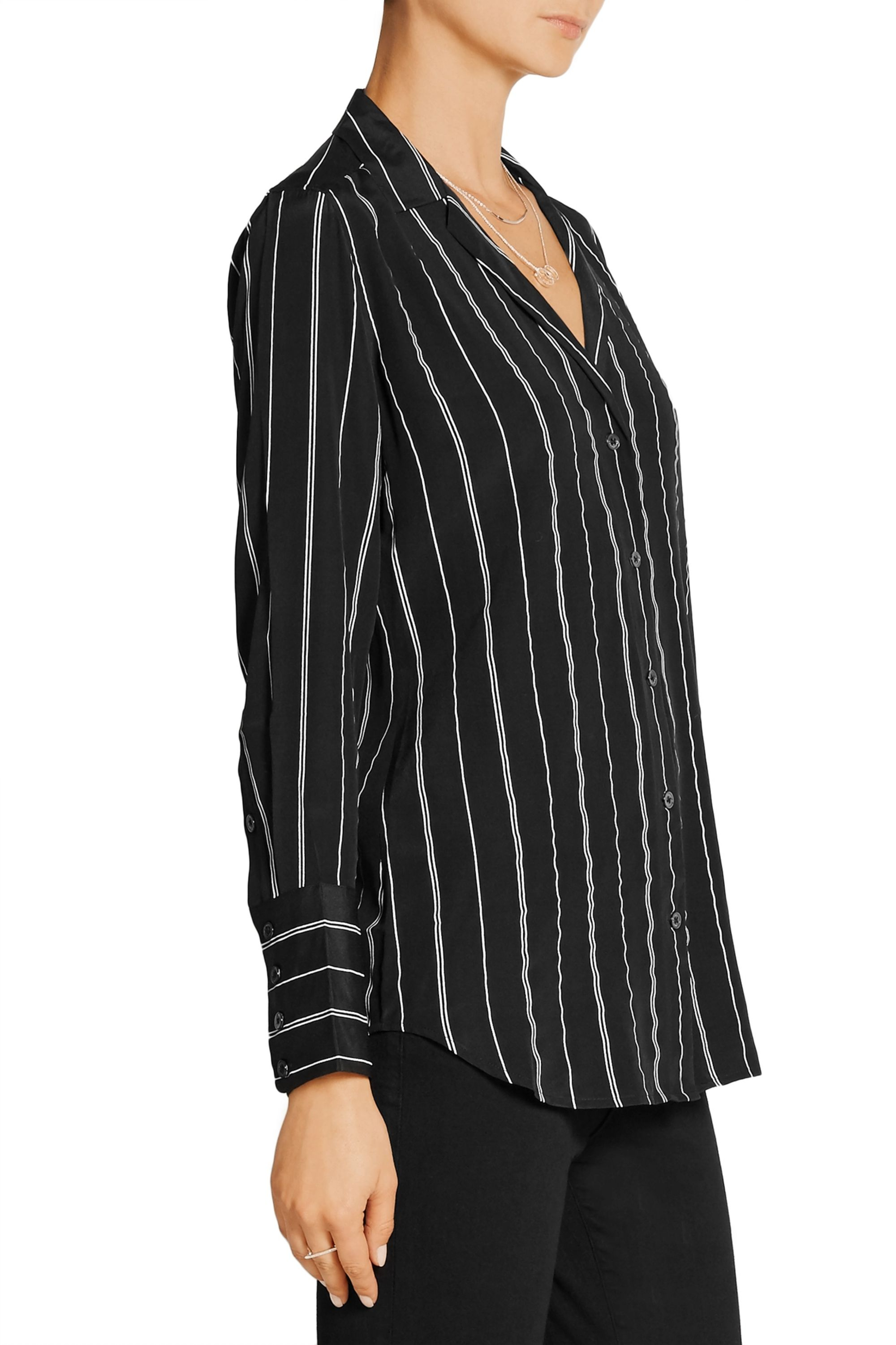 EQUIPMENT May striped washed-silk shirt