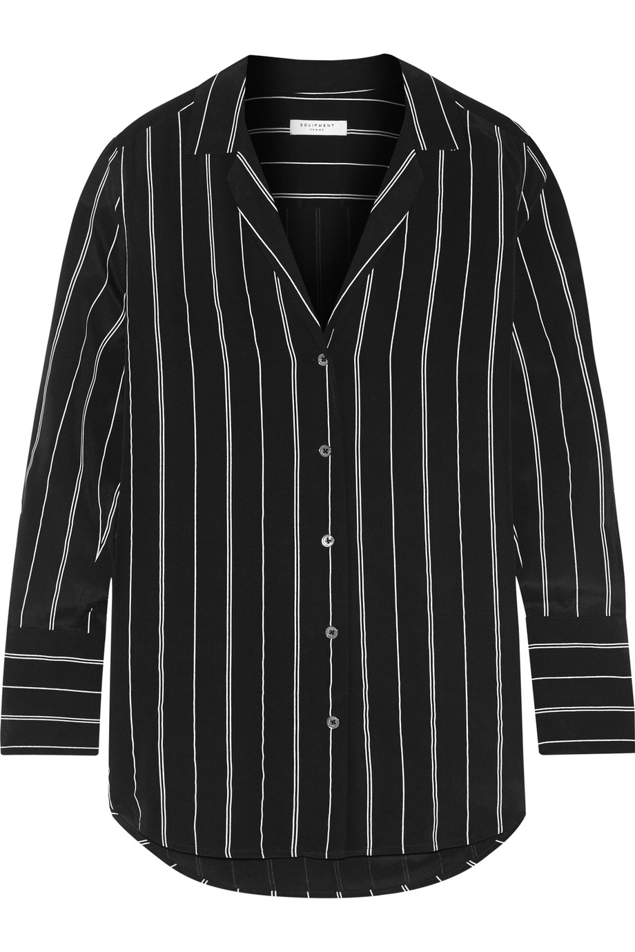 Equipment May Striped Washed-Silk Shirt, Black, Women's