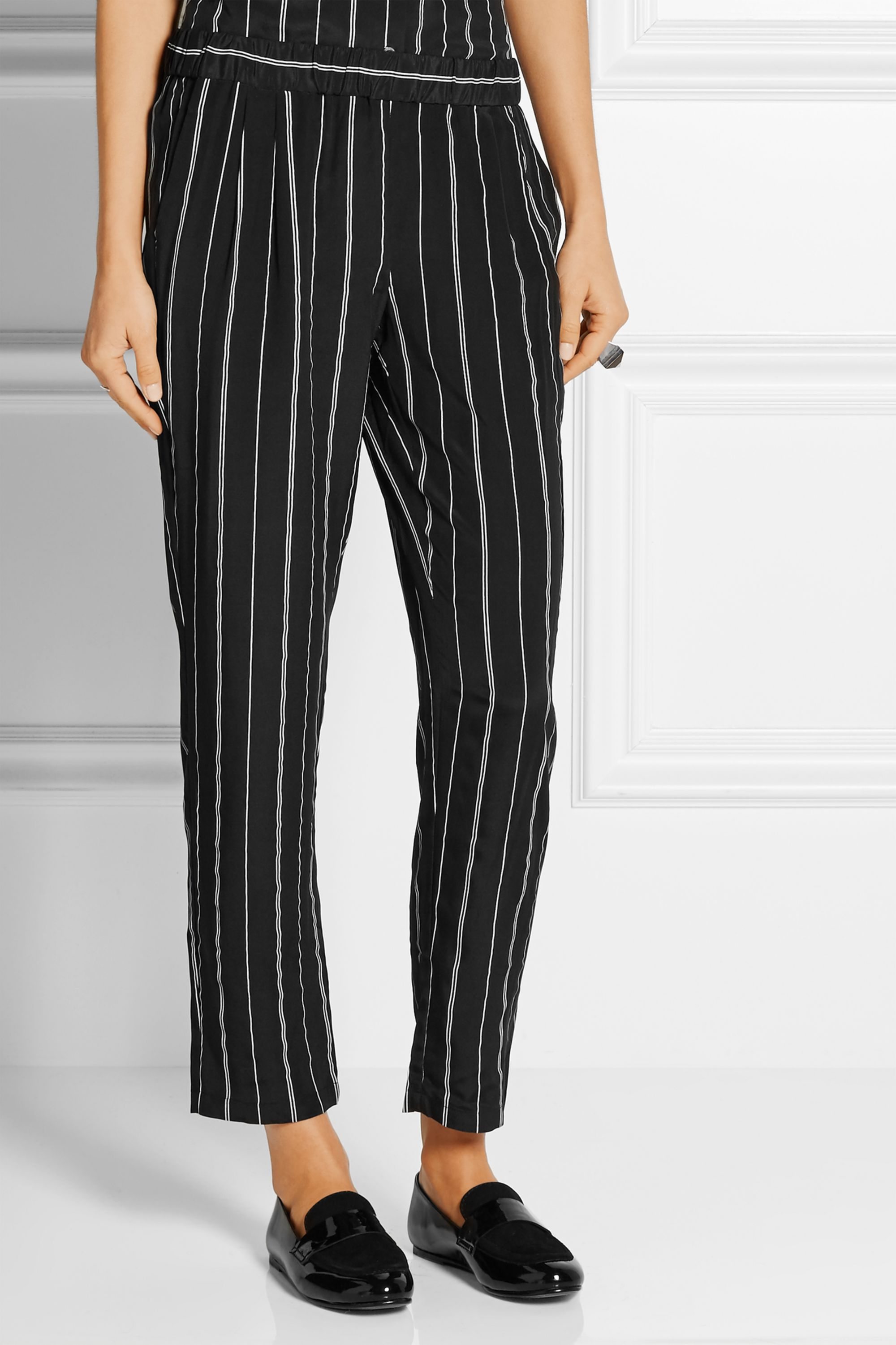 EQUIPMENT Hadley striped washed-silk tapered pants