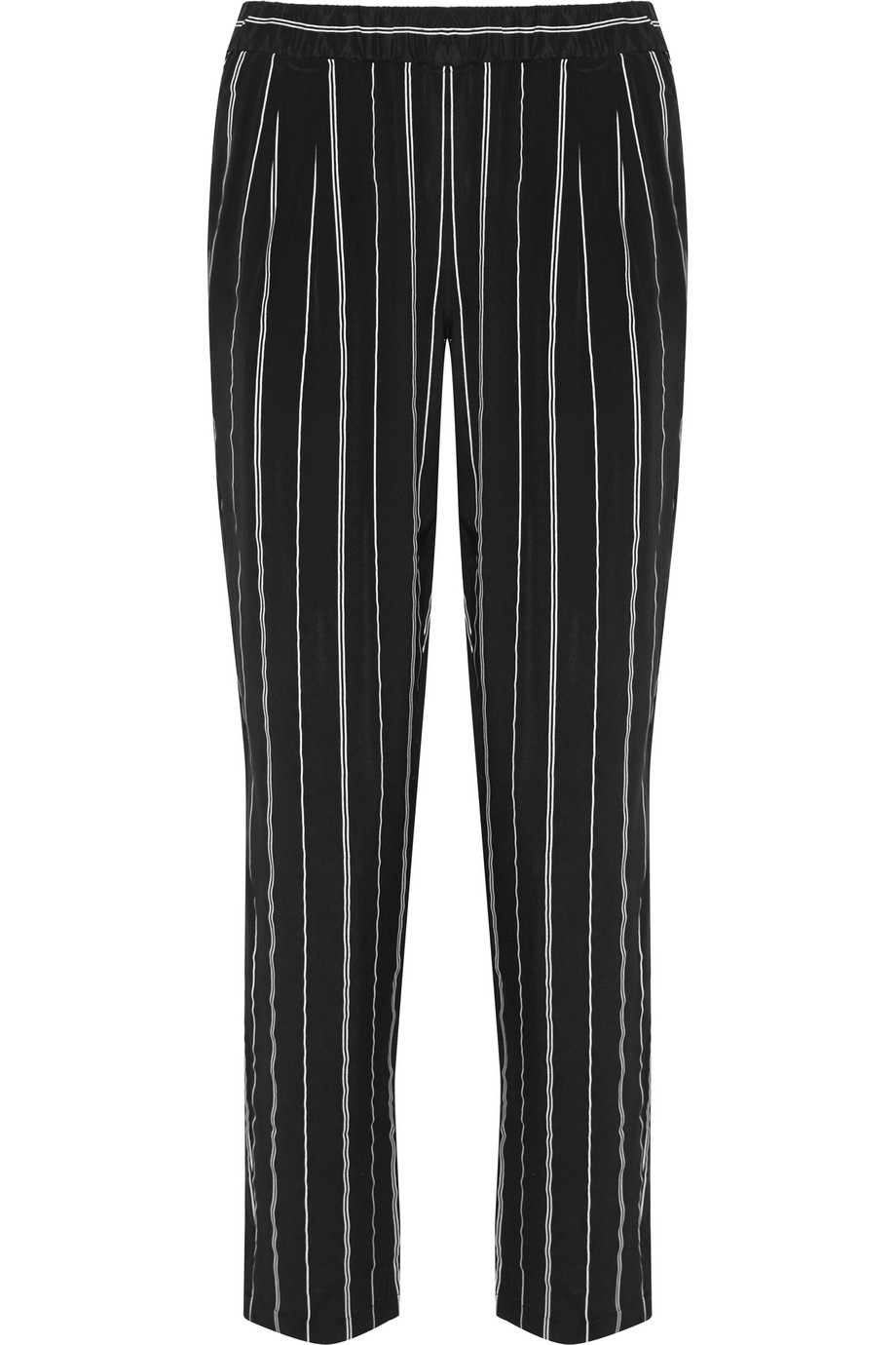 Equipment Hadley Striped Washed-Silk Pants, Black, Women's, Size: XS
