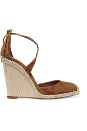 Karlie raffia-trimmed suede wedge sandals