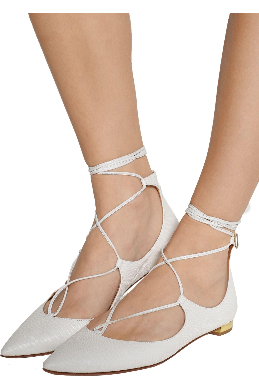 Aquazzura Christy lizard-effect leather point-toe flats