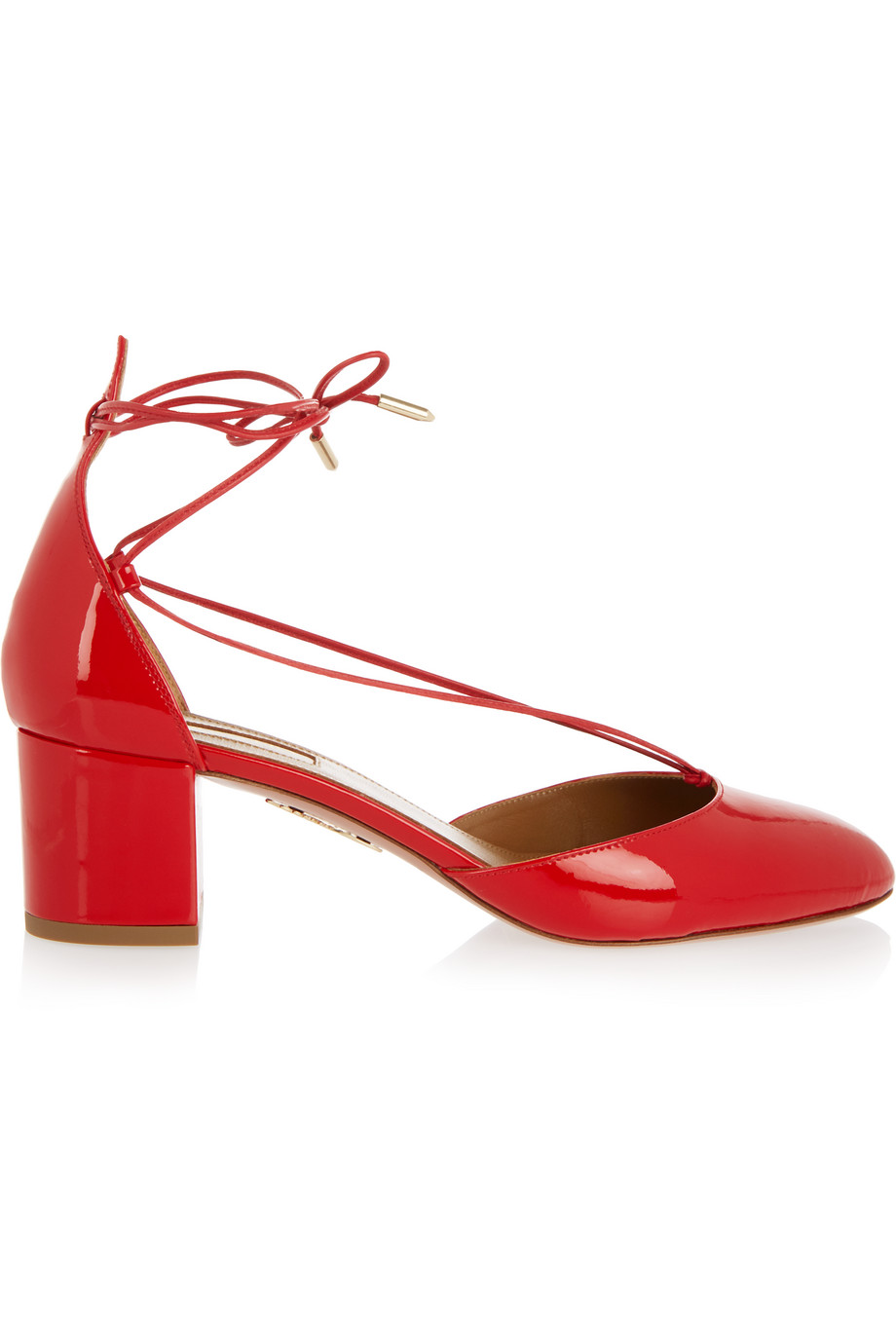 Aquazzura Alexa Patent-Leather Pumps, Red, Women's US Size: 10, Size: 40.5