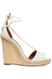 Alexa raffia-trimmed leather wedge sandals