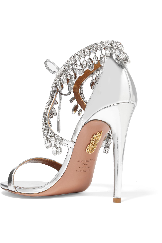 Aquazzura Milla crystal-embellished metallic leather sandals