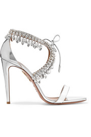 Milla crystal-embellished metallic leather sandals