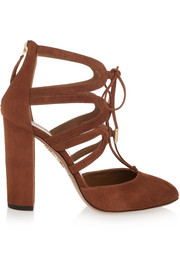 Aquazzura Holli cutout suede pumps