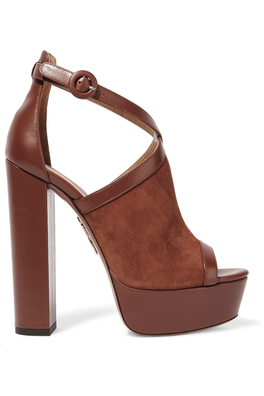 Aquazzura Issa suede and leather platform sandals