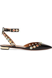 Byzantine embellished leather point-toe flats