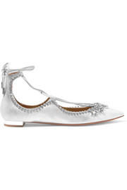 Christy crystal-embellished metallic leather point-toe flats