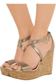 Jimmy Choo Portia metallic cracked-leather wedge sandals