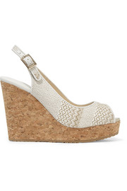 Jimmy Choo Prova leather-trimmed woven wedge sandals