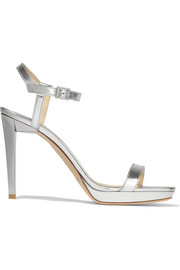 Jimmy Choo Claudette mirrored-leather platform sandals