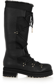 Dunn shearling-lined textured-leather and canvas knee boots