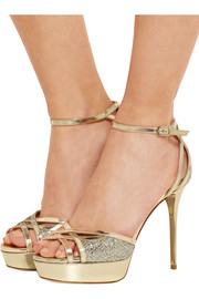 Jimmy Choo Laurita glittered leather sandals