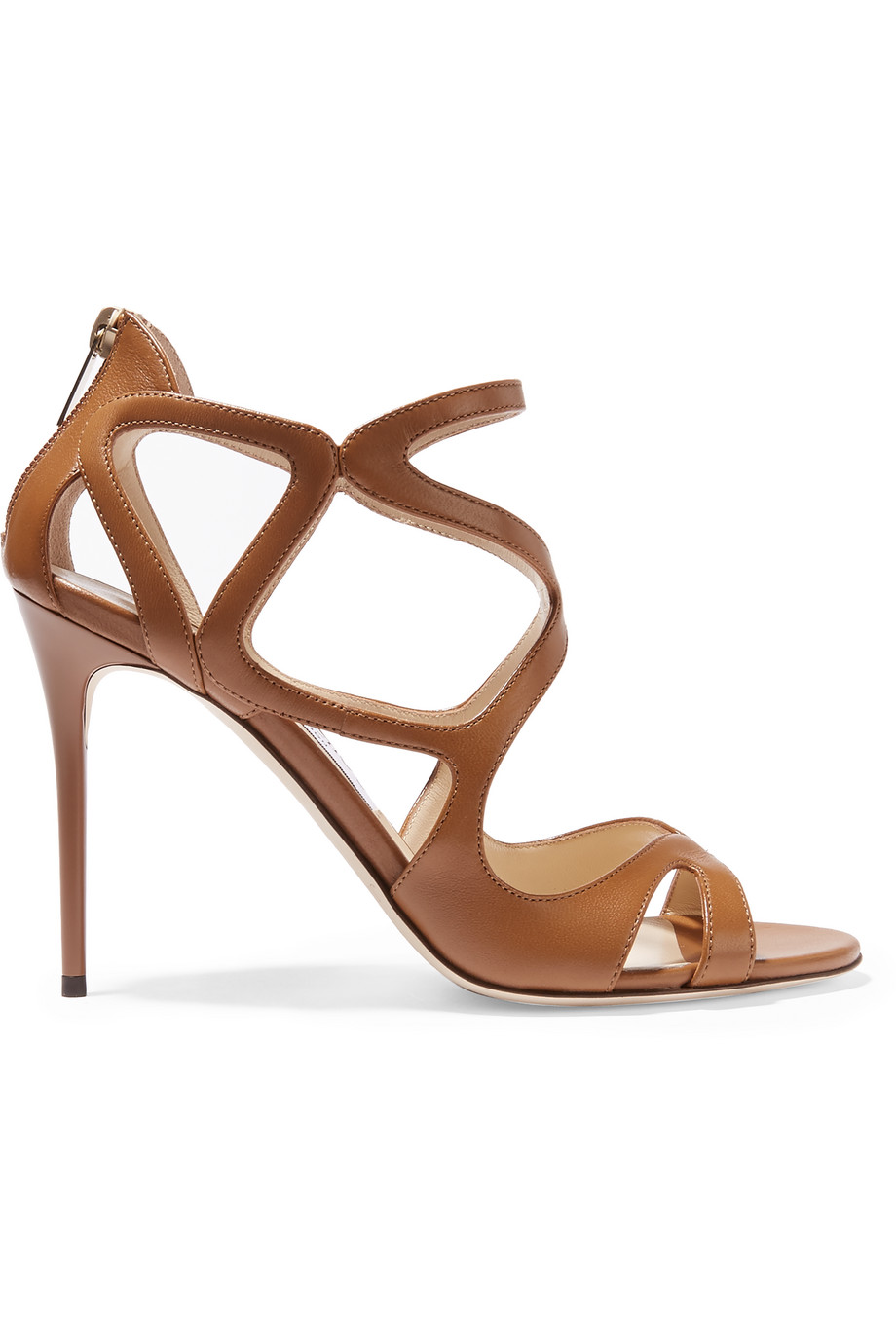 Jimmy Choo Leslie Leather Sandals, Tan, Women's US Size: 7, Size: 37.5