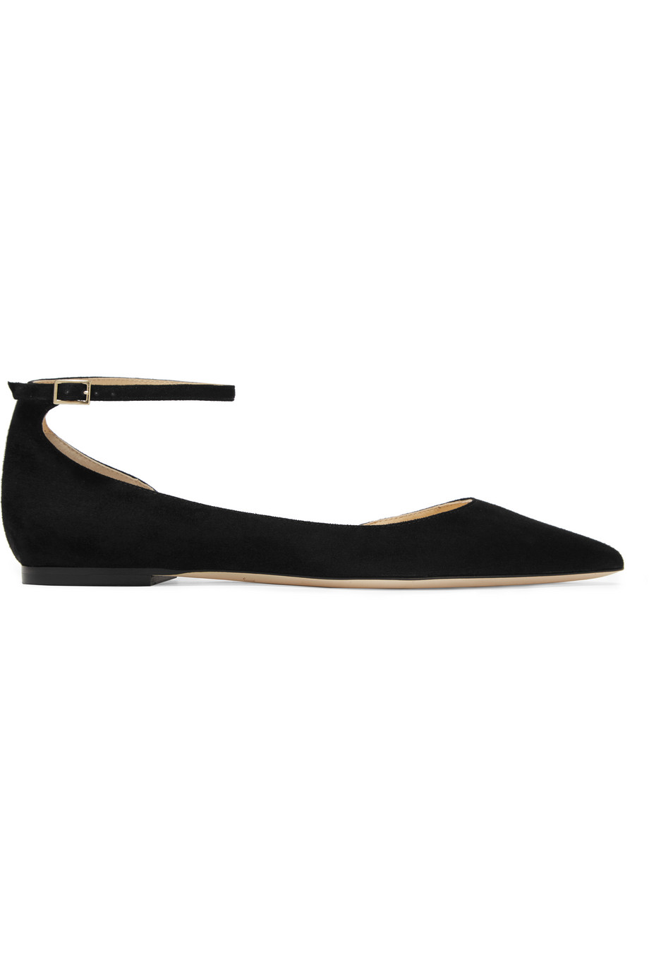 Jimmy Choo Lucy Suede Point-Toe Flats, Black, Women's US Size: 5, Size: 35.5