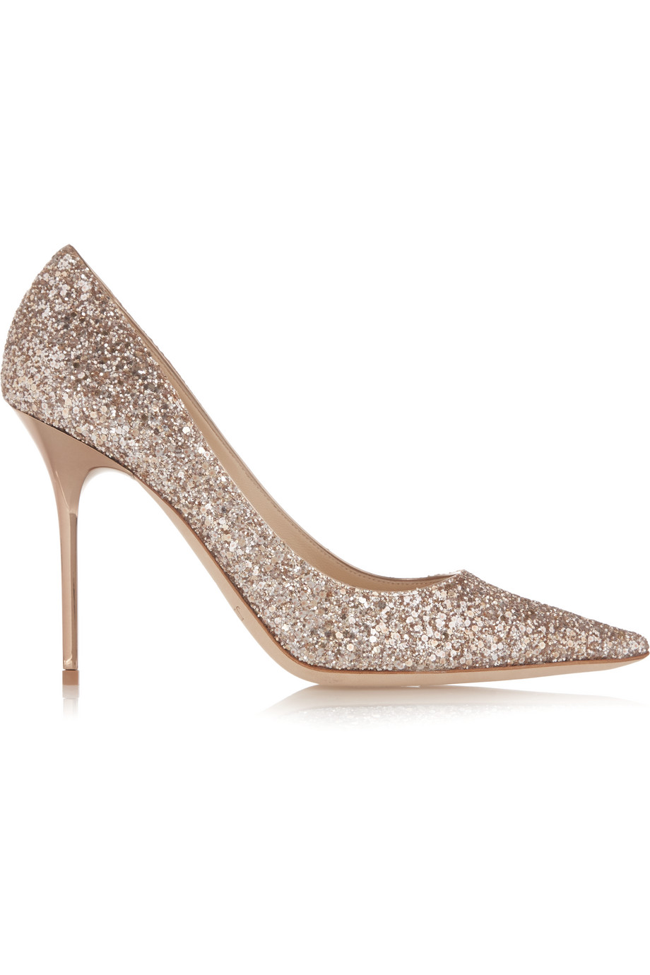 Jimmy Choo Abel Glittered Leather Pumps, Gold, Women's US Size: 10.5, Size: 41
