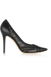 Jimmy Choo Hettie leather and mesh pumps