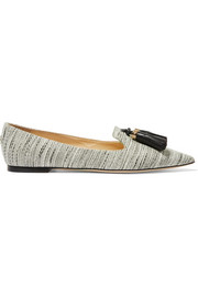 Jimmy Choo Gabby tasseled tweed point-toe flats