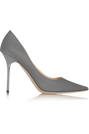Abel glittered metallic satin-twill pumps