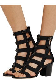 Myriad crystal-embellished elastic and suede sandals