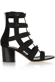 Jimmy Choo Myriad crystal-embellished elastic and suede sandals