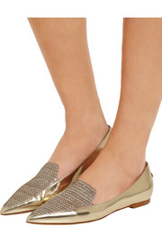 Jimmy Choo Guild mirrored-leather and woven lamé point-toe flats