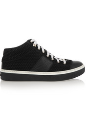 Bells embossed suede and leather sneakers