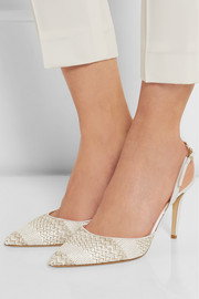 Tilly woven and leather slingback pumps