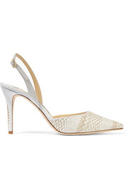 Jimmy Choo Tilly woven and leather slingback pumps