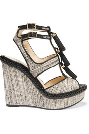Jimmy Choo Drew leather and tweed wedge sandals