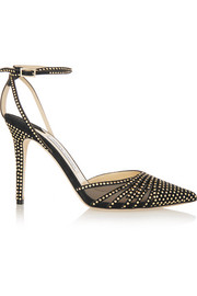 Jimmy Choo Kizzy mesh-paneled studded suede pumps