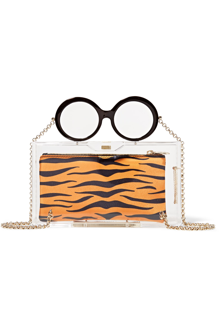 Charlotte Olympia Apfel Perspex Clutch, Clear/Leopard Print, Women's