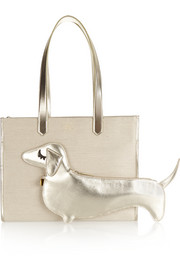 Doggy Bag metallic leather-trimmed canvas tote