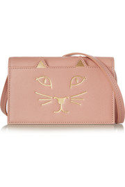 Charlotte Olympia Feline textured-leather shoulder bag