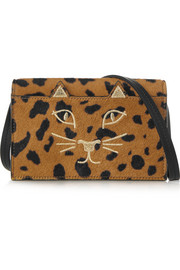Feline leopard-print calf hair shoulder bag