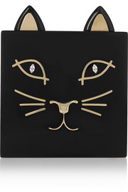 Kitty embellished Perspex clutch