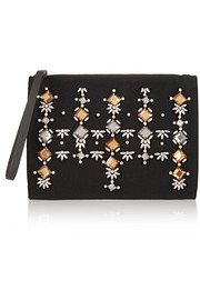 Envelope embellished crepe and leather clutch