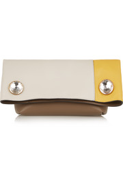Swarovski crystal-embellished color-block leather clutch