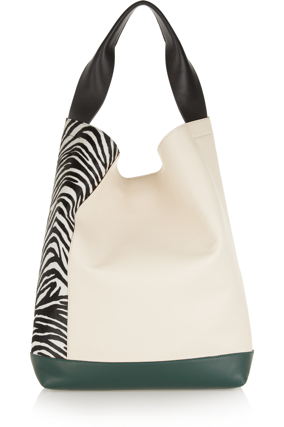 Marni Pod Calf Hair and Leather Shoulder Bag, Zebra Print/White, Women's