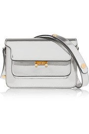 Trunk mini metallic leather shoulder bag