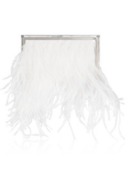 Jimmy Choo Box feather and metal clutch