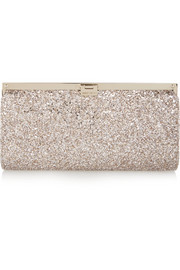 Camille glittered canvas clutch