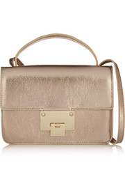 Rebel metallic textured-leather shoulder bag
