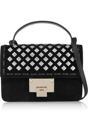 Jimmy Choo Rebel studded whisptitched suede shoulder bag