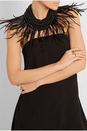 Rosantica Corvo convertible palladium-tone feather and beaded necklace