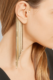 Fringed gold-tone pearl ear cuff