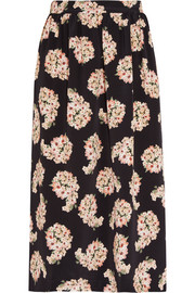 Romily floral-print silk-satin midi skirt