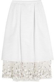 Hudson embellished organza-trimmed cotton-blend skirt